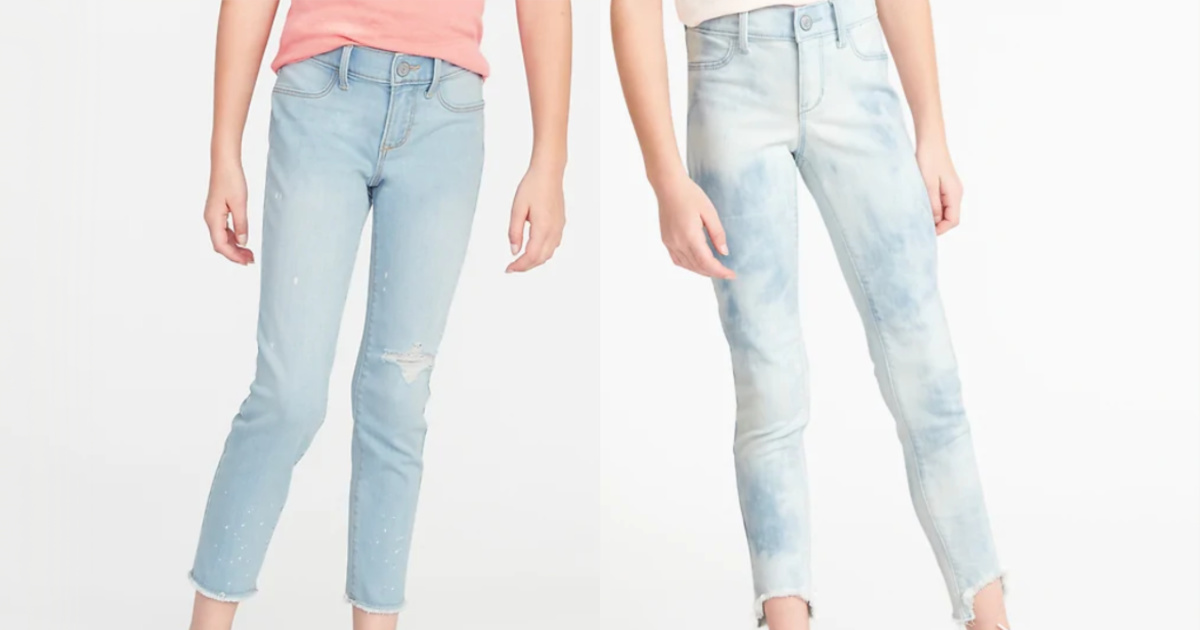 two girls wearing old navy jeans