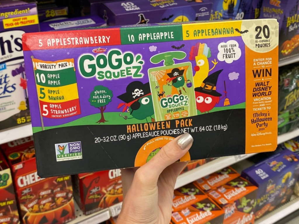 GoGo SqueeZ Applesauce 20-Count Halloween-themed package in hand in store at Target