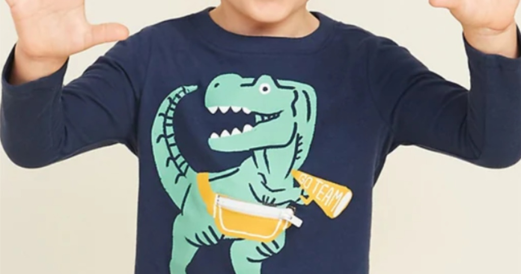 boy wearing graphic critter tee from old navy