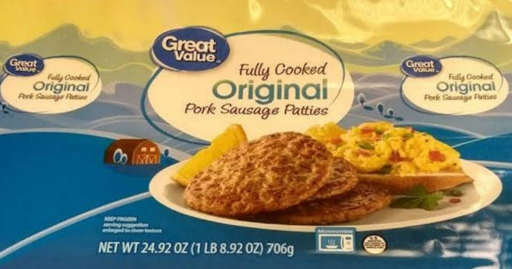 Package of Great Value Fully Cooked Original Pork Sausage Patties