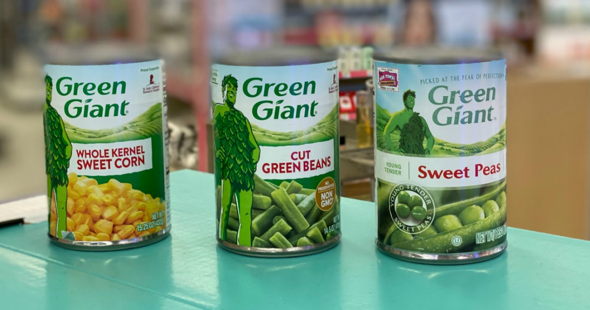 Three cans of Green Giants Vegetables