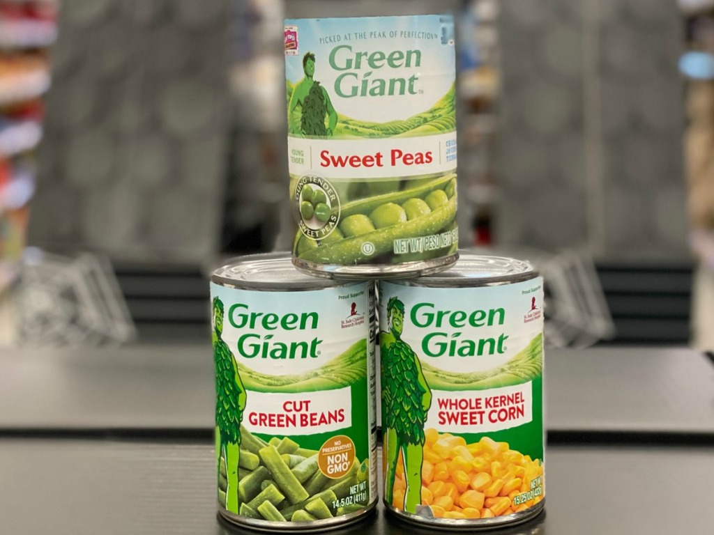 Green Giant Vegetables in cans stacked