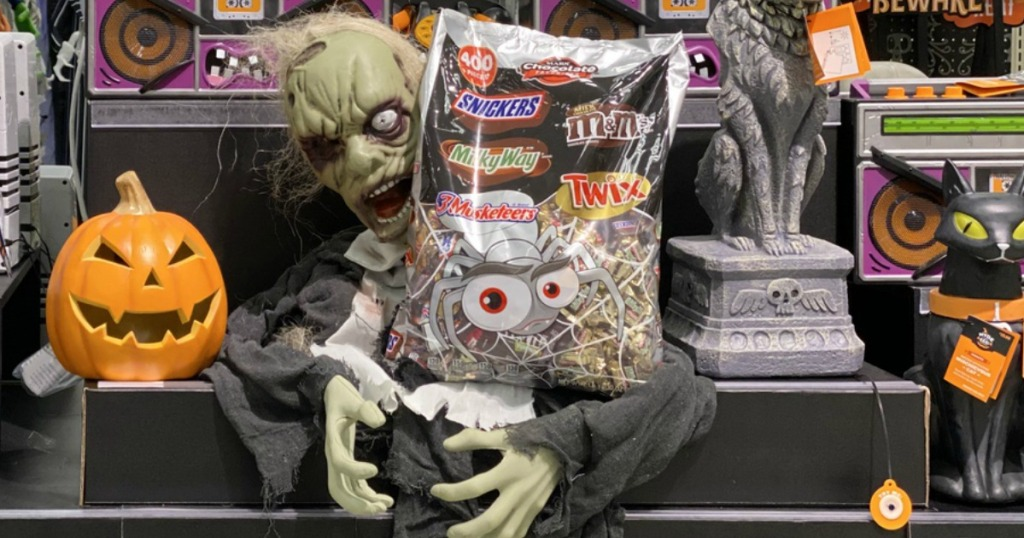 zombie holding bag of candy