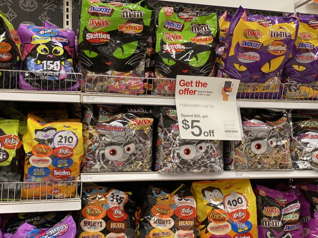 shelves with Halloween candy on them