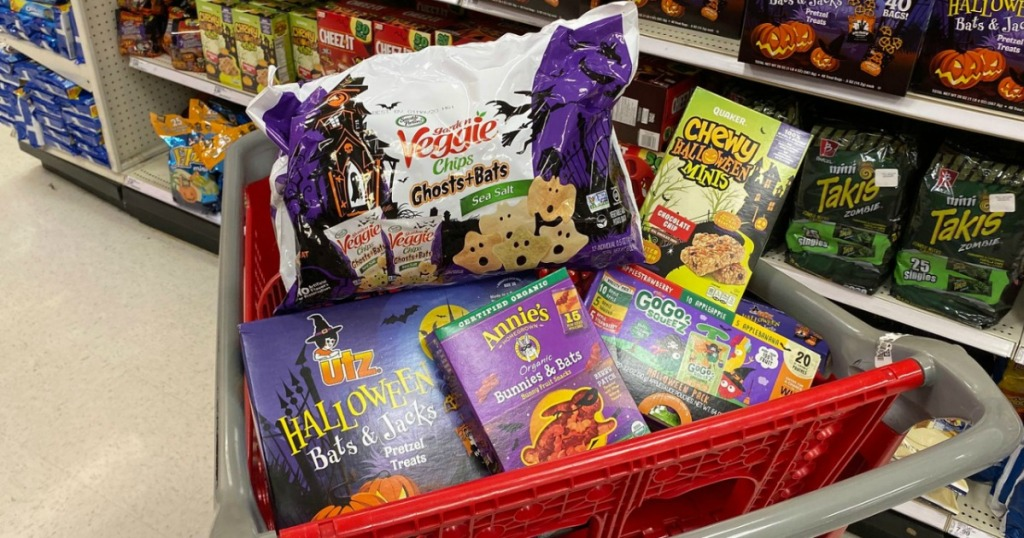 Halloween themed snacks in cart at Target