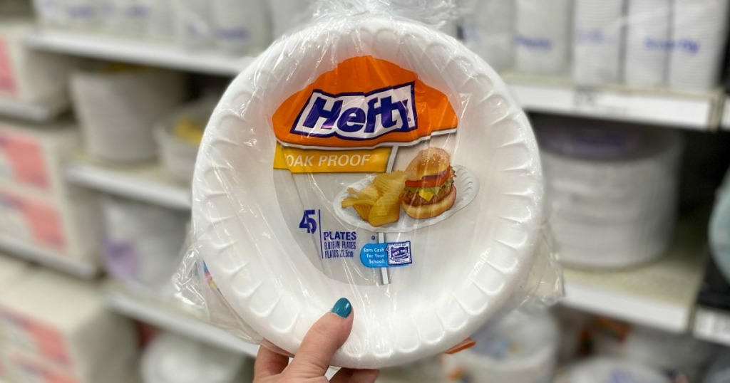 Hefty Plates held up in Target Aisle