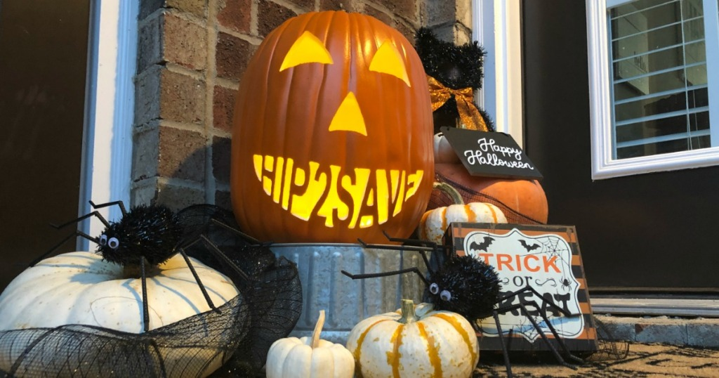 hip2save halloween pumpkin on front porch