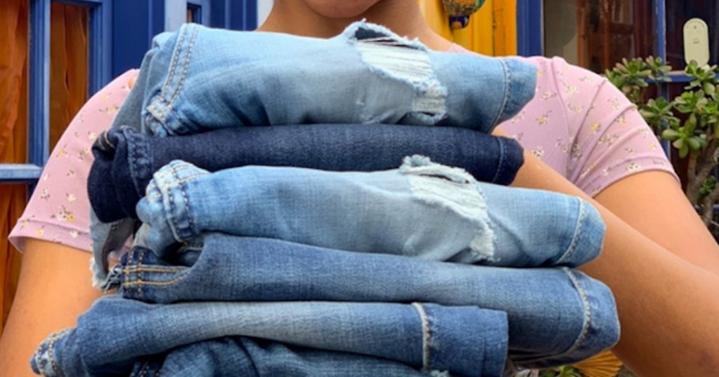 Hollister brand jeans folded and in a stack