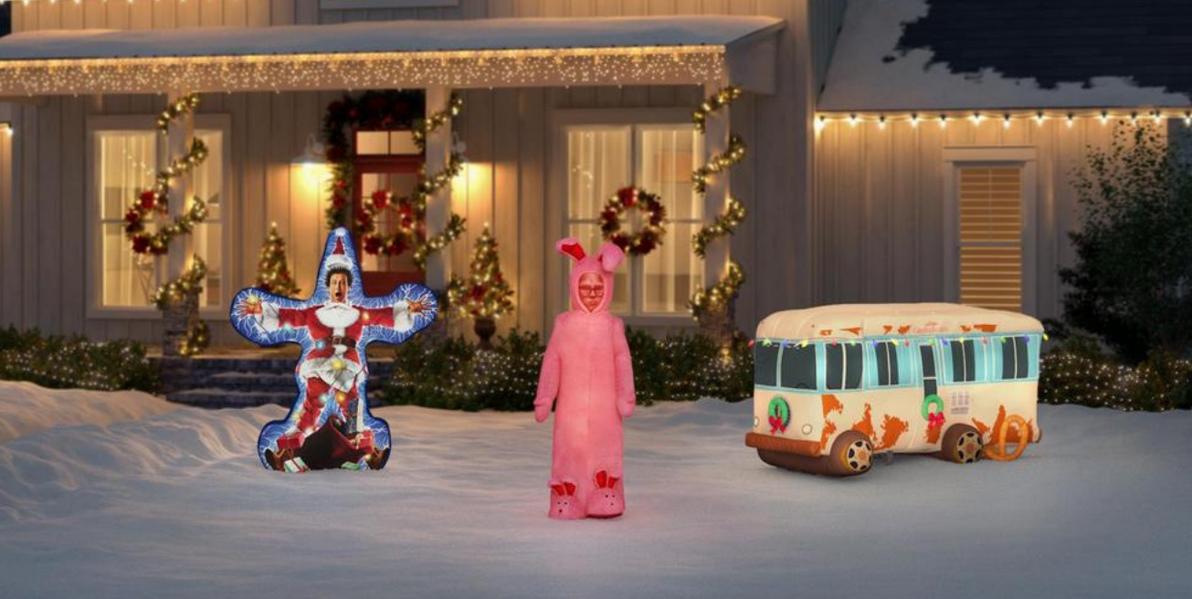 Christmas inflatables in yard