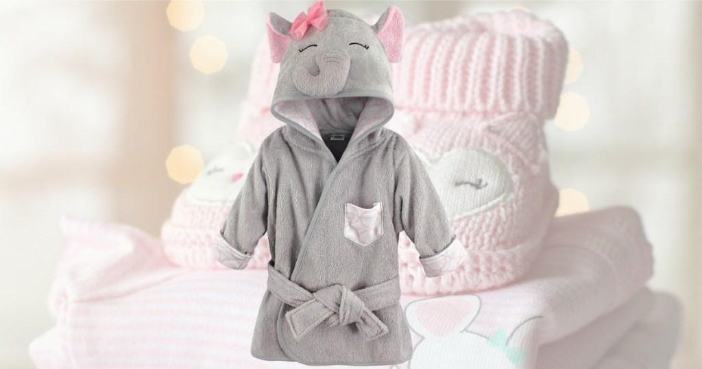 Elephant themed baby hooded robe