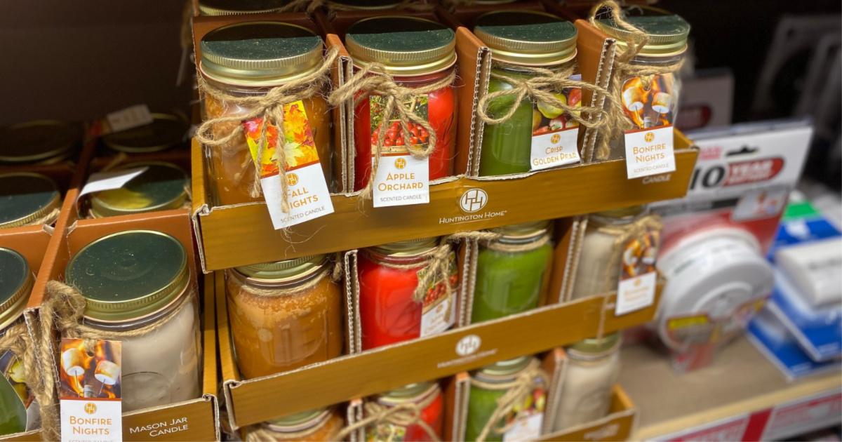 fall mason jar candles on shelf at aldi