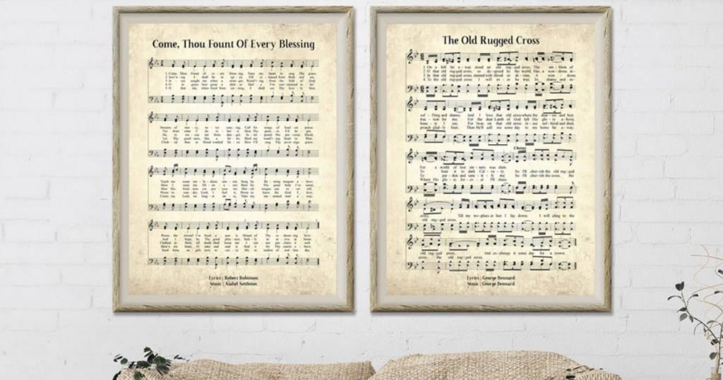 Large Hymn Prints hung over couch