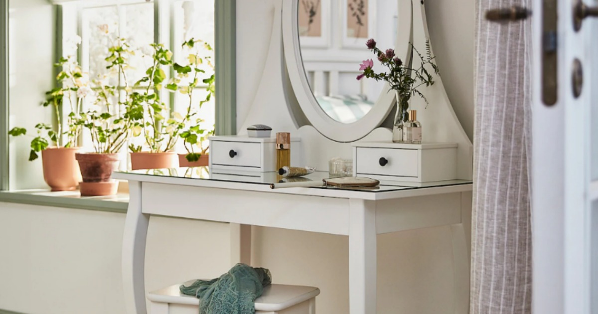IKEA white vanity table with mirror