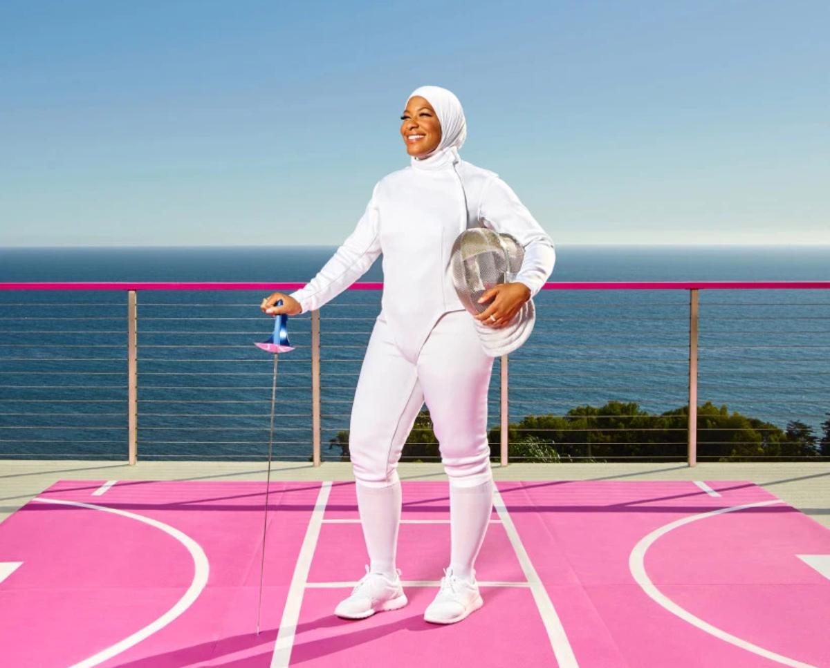 fencer on deck of Barbie DreamHouse