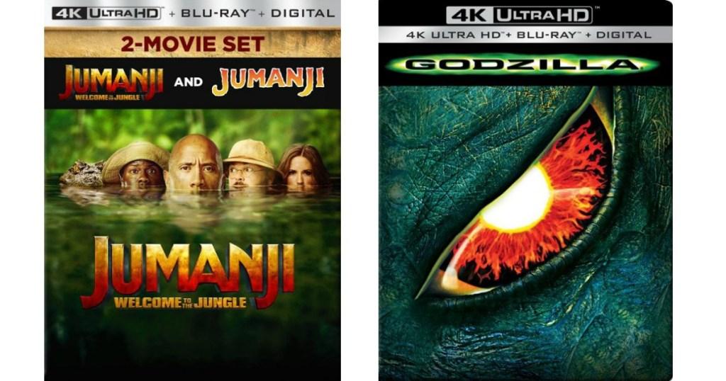 Jumanji and Godzilla movie cases