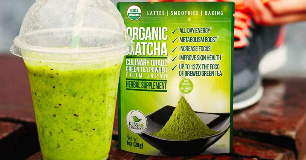 Kiss Me Organics Organic Matcha Green Tea Powder in a shake