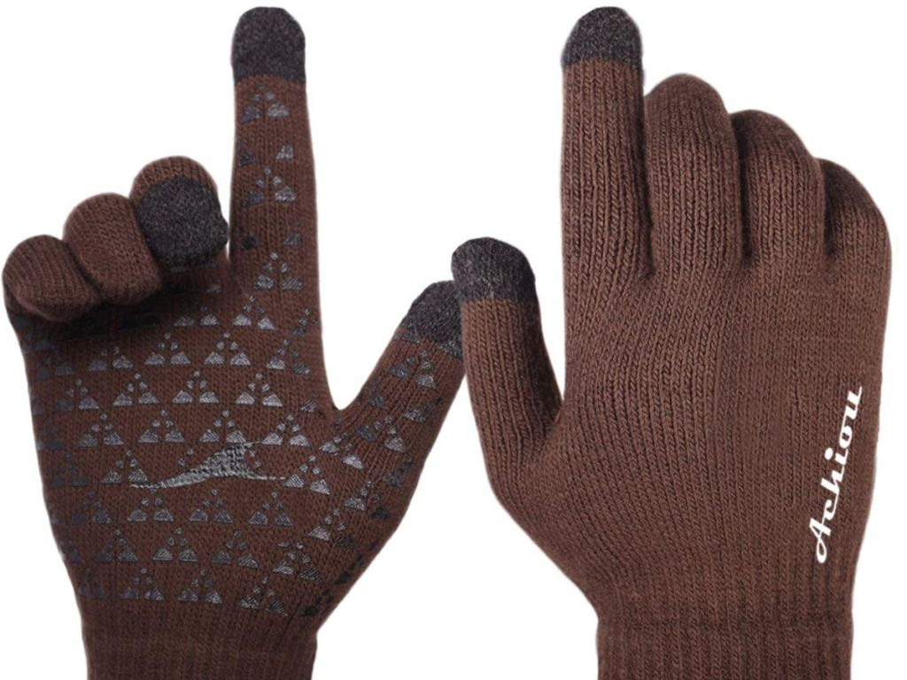 Knit Gloves Touchscreen in coffee