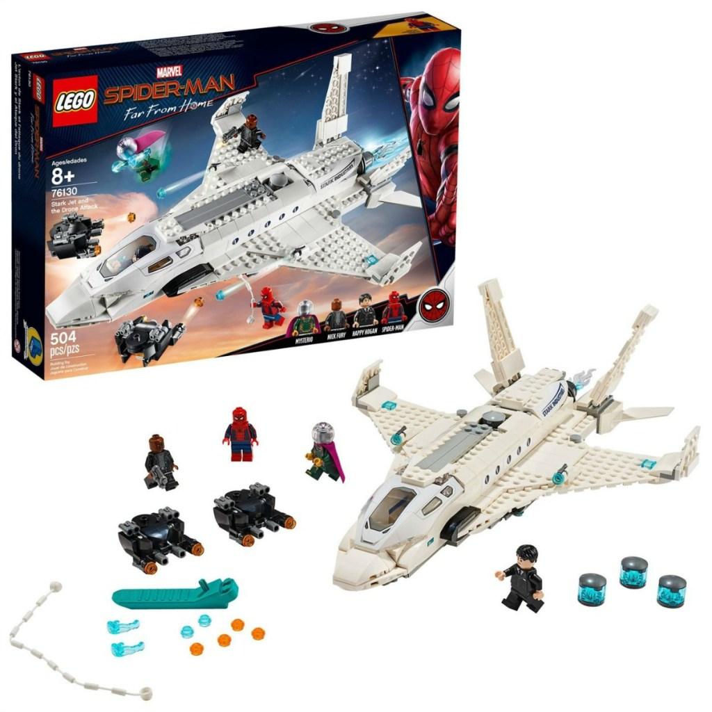 LEGO Super Heroes Marvel Spider-Man Stark Jet Drones set stock image