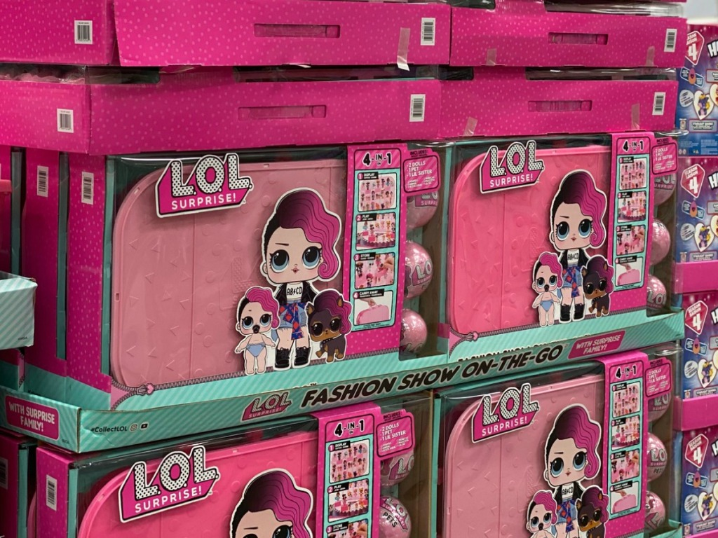 Store display of LOL Suprise Fashion Show on the go cases