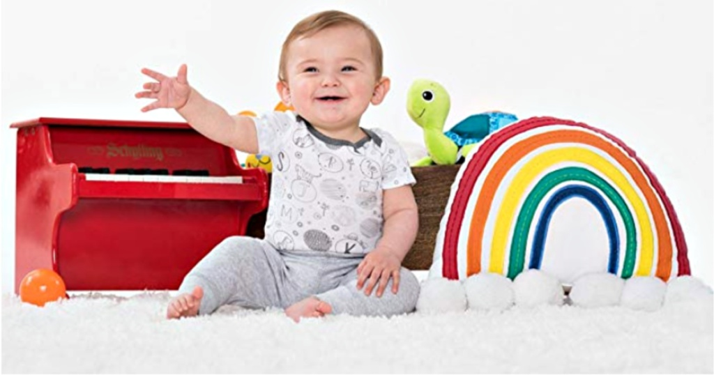 baby wearing lamaze organic cotton bodysuit