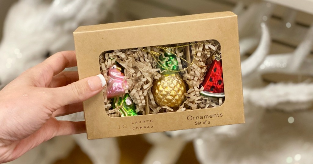 Woman holding Lauren Conrad Ornament Set at Kohl's