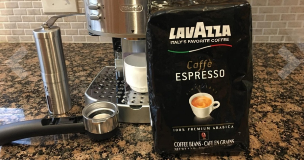 bag of lavazza bagged coffee on kitchen counter