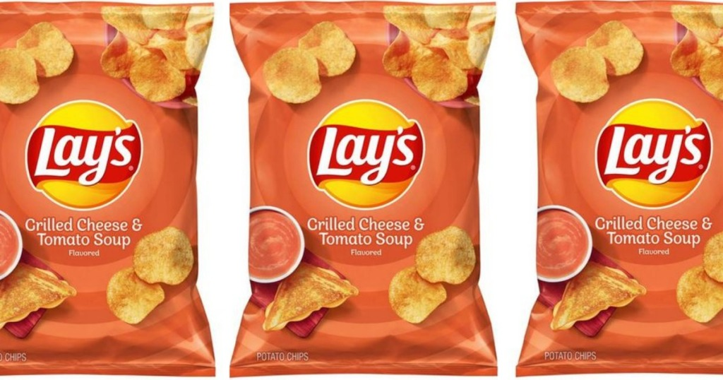 Bags of Lay's Grilled Cheese & Tomato Soup Chips