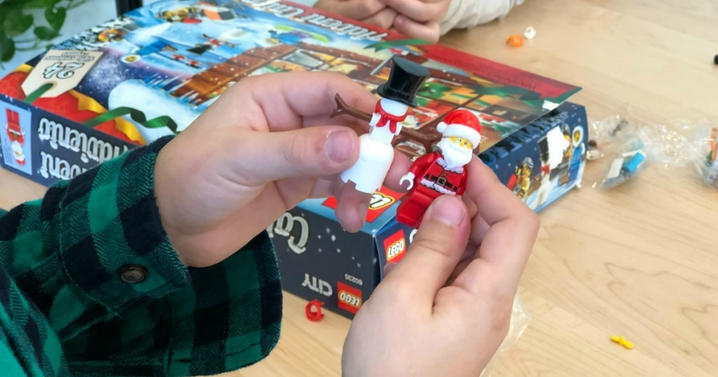 playing with LEGO City Advent Calendar pieces