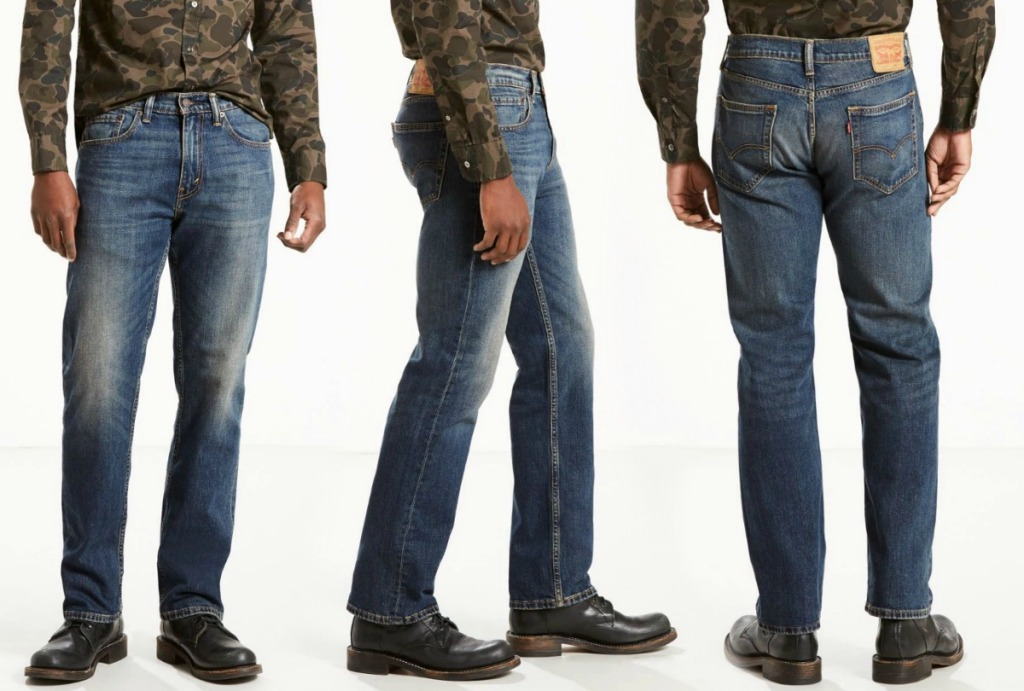Three angles of Levi's 505 Regular Fit Men's Jeans