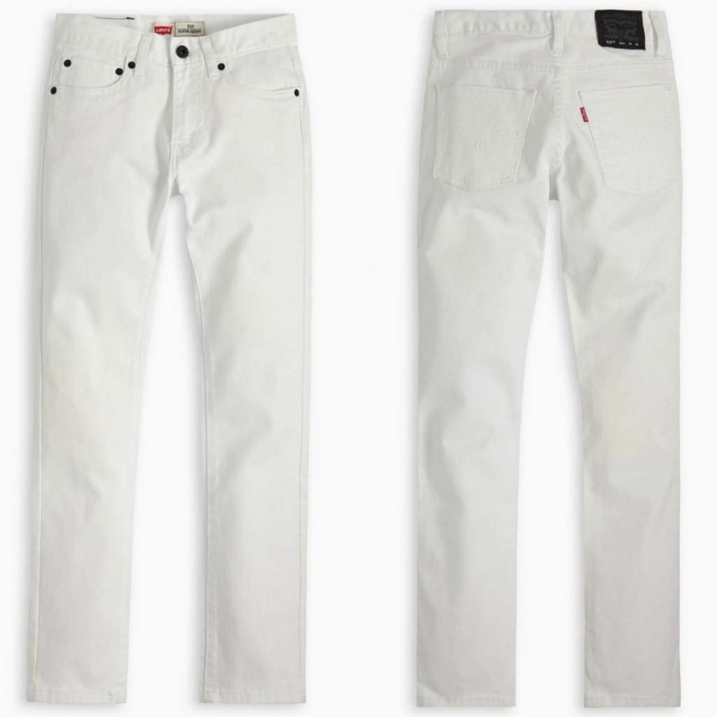 Levi's 510 Skinny Fit Boys Jeans in white, front and back view