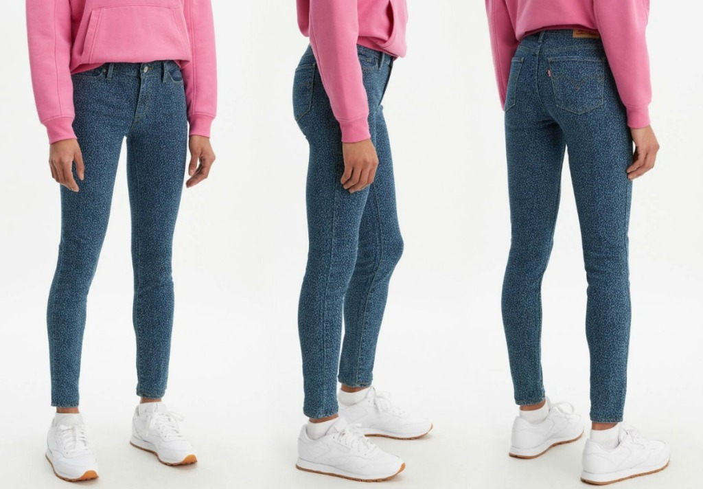 Levi's 711 Leopard Print Skinny Women's Jeans at three angles