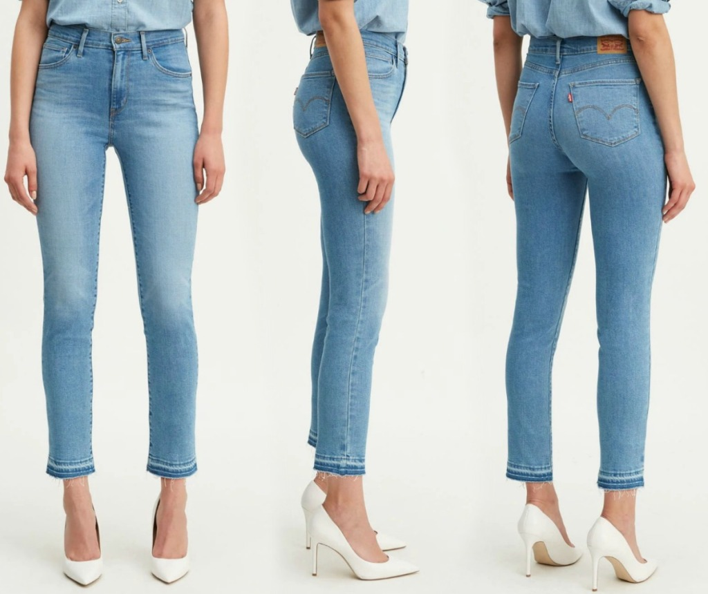 Three angles of Levi's brand skinny jeans