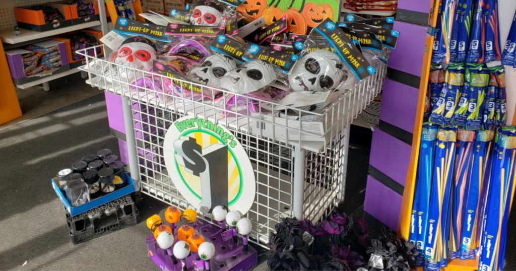 Dollar tree Halloween masks in a bin