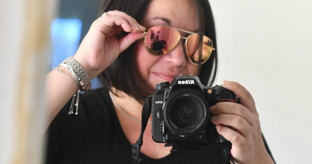 Lina in Pink Amazon Aviator Sunglasses