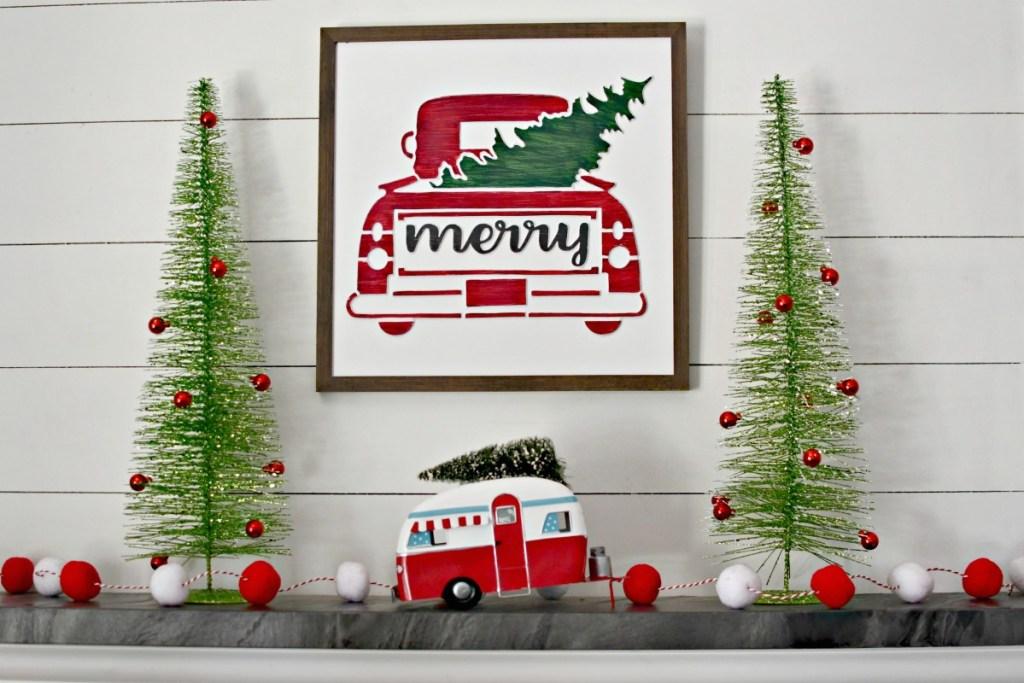 Lina's christmas mantel using hobby lobby decor
