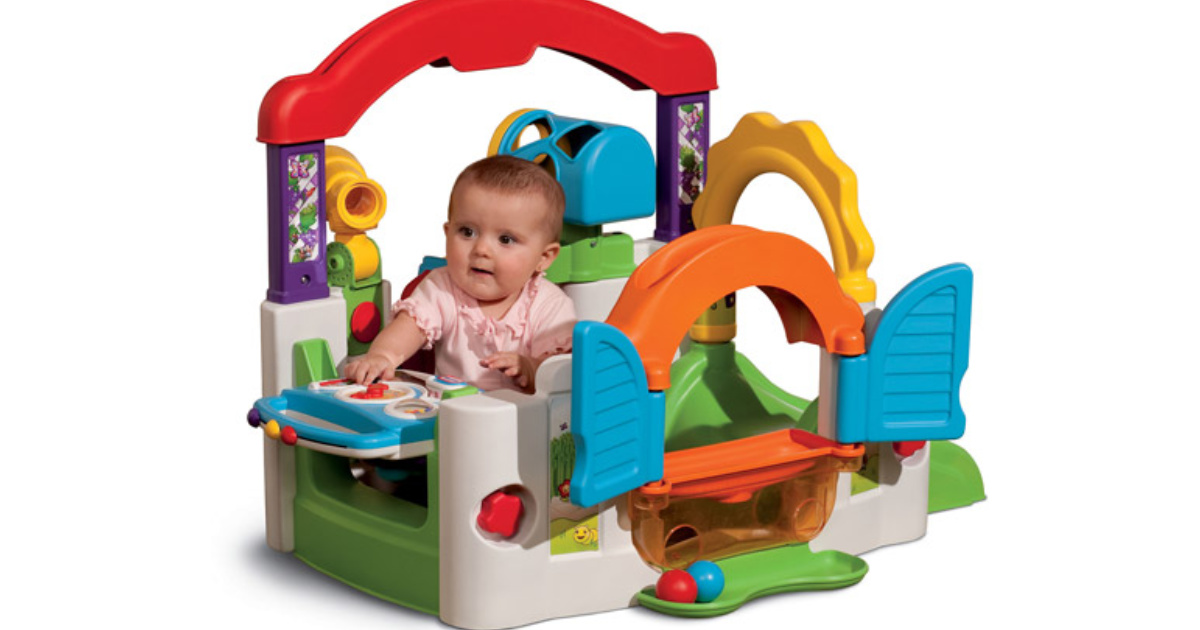 baby playing with little tikes activity garden