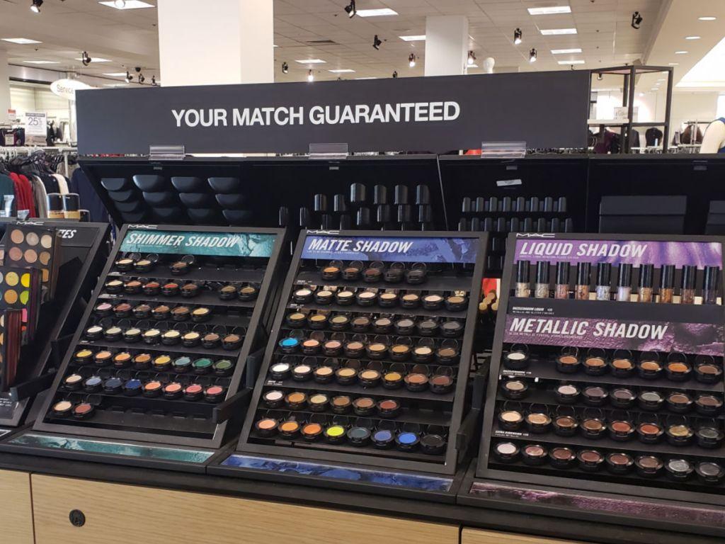 MAC Eyeshadow display at Macy's