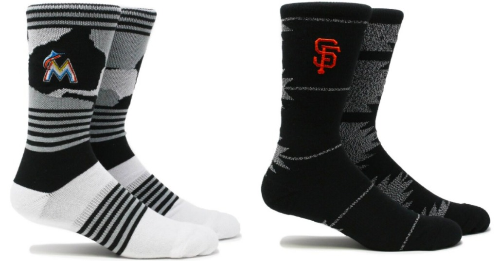 picture of two MLB socks next to each other