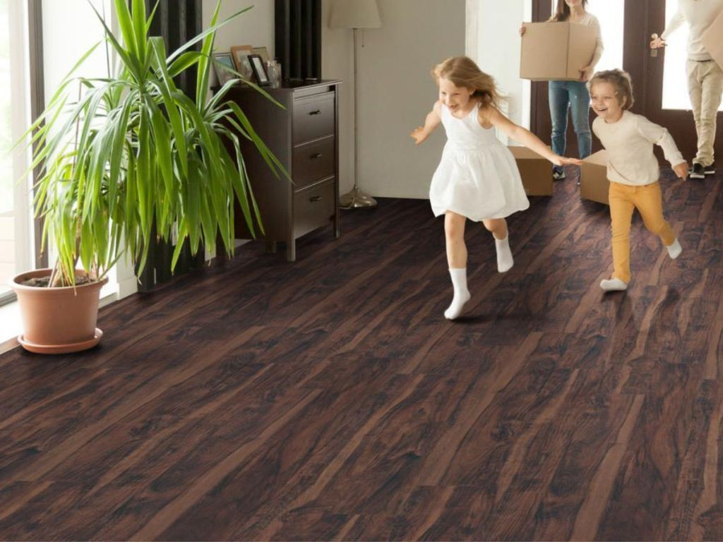 kids playing on MSI Centennial Aged Walnut Glue Down Luxury Vinyl Plank Flooring