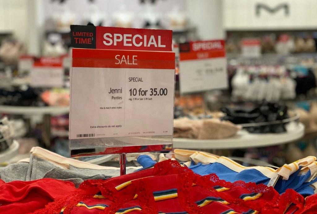 Macy's panties sale in store display