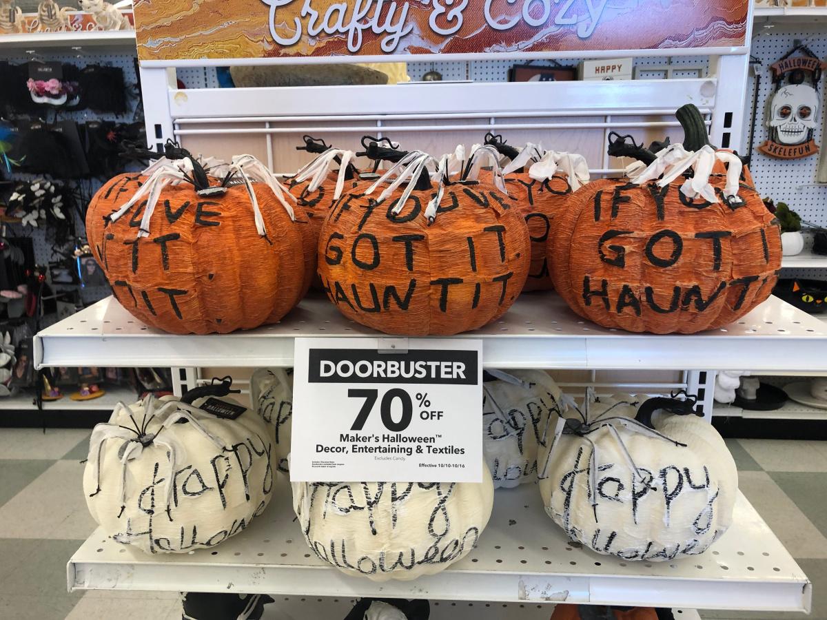 wordy pumpkins on display in store