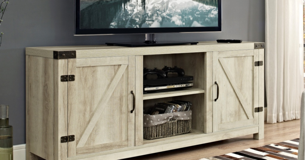 manor park farmhouse tv stand in living room