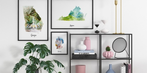 Watercolor Map Canvas Prints Only $7.93 Each Shipped (Regularly $20) | Over 200 Designs