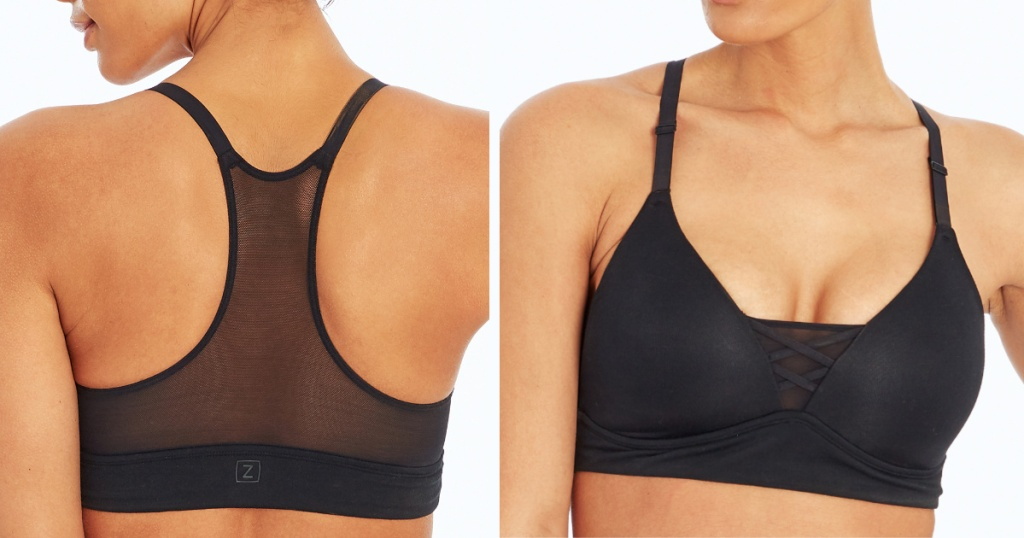front and back of marika black sports bra