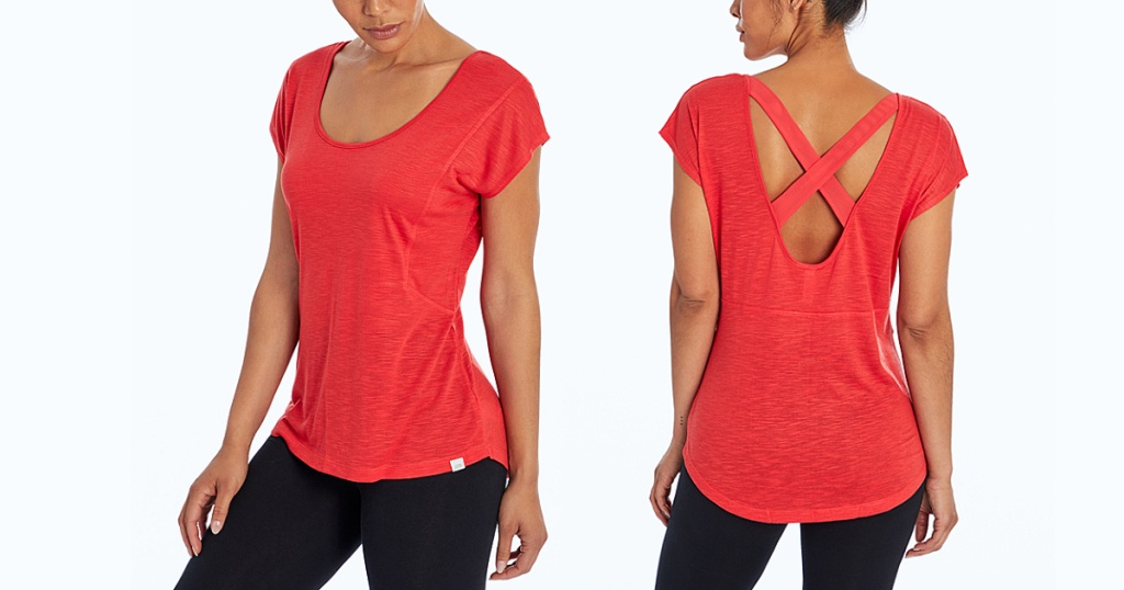 front and back of marika cross back tee