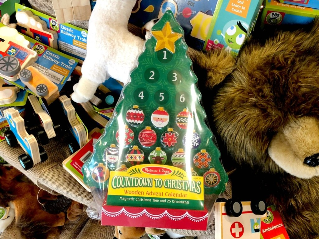 wooden advent calendar shaped like a tree