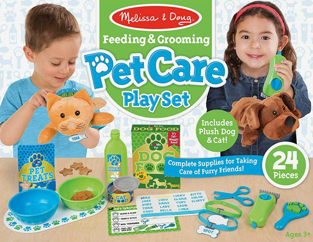 Melissa & Doug Feeding & Grooming Pet Care Play Set in box