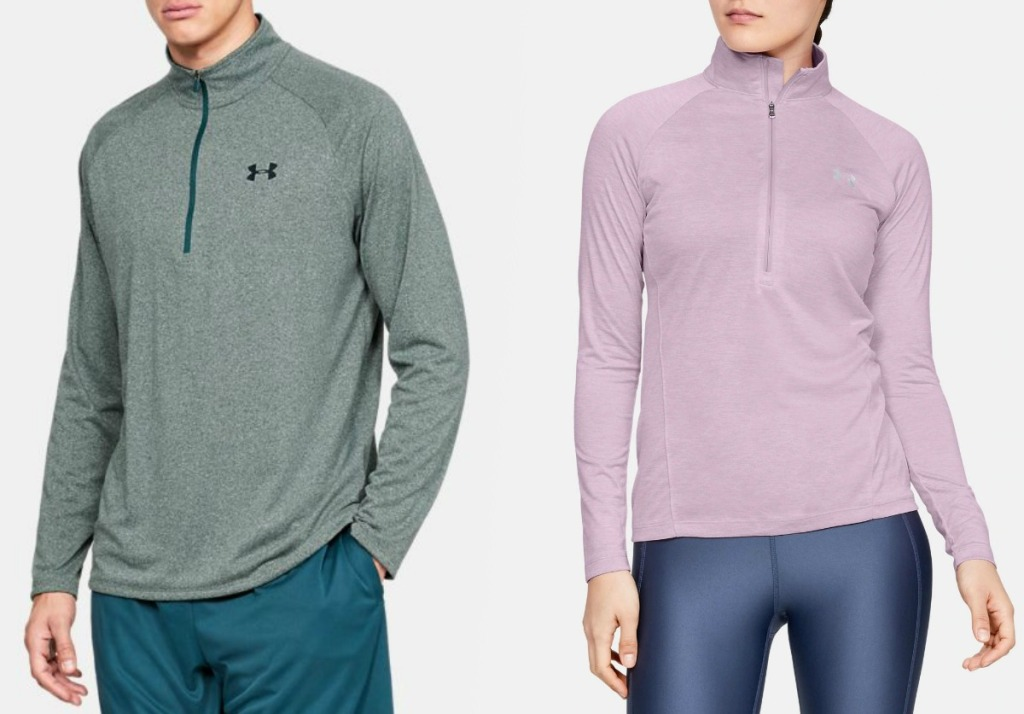 Man and woman wearing Under Armour shirts
