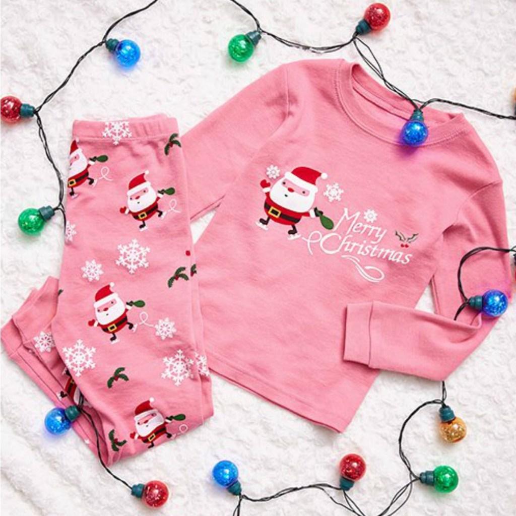 Girls pink Santa pajamas