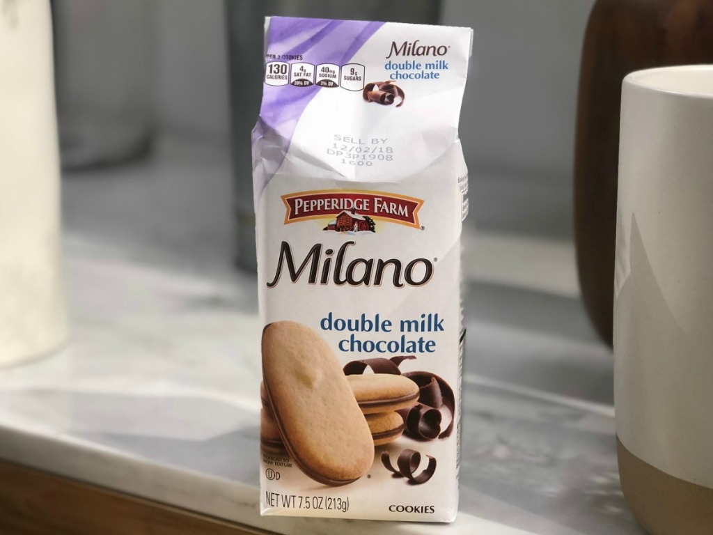Milano Cookies on counter in double milk chocolate flavor